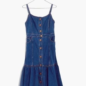 Madewell Denim Bayview Tiered Midi Sz 10 Dress